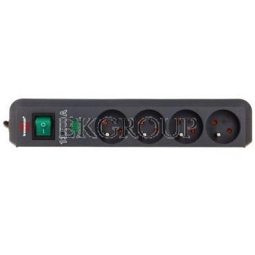 Listwa zasilająca przeciwprzepięciowa Eco-Line 4500A 1,5m 4 gniazda czarna H05VV-F 3G1,5 1153904314-148847