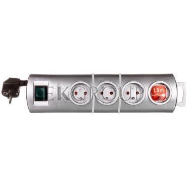 Listwa zasilająca Primera-Line 1,5m 4 gniazda srebrna H05VV-F 3G1,5 1153394124-148850