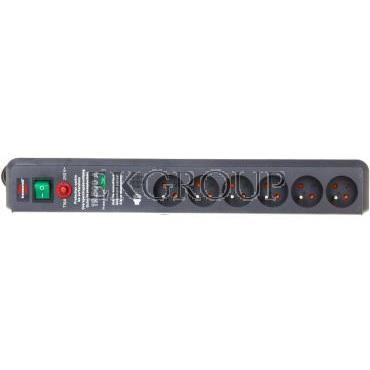Listwa zasilająca przeciwprzepięciowa Secure-Tec 15kA 3m 6 gniazd antracytowy H05VV-F 3G1,5 1159541376-148854