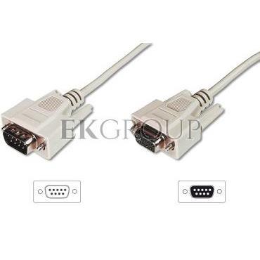 Kabel przedłużający RS232 1:1 Typ DSUB9/DSUB9, M/Ż beżowy 5m AK-610203-050-E-148115
