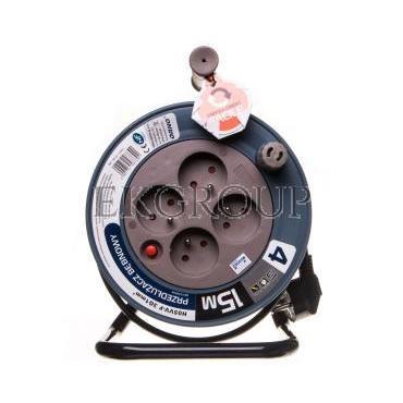 Przedłużacz bębnowy MINI 15m 4x230V /PVC 3x1mm2/ szary OR-AE-1339/G-149127