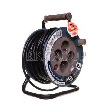 Przedłużacz bębnowy MINI 15m 4x230V /PVC 3x1mm2/ turkusowy OR-AE-1339/T-149129