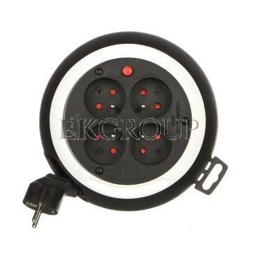 Kompaktowy przedłużacz 3m zwijany Comfort-Line CLS 4x230V czarny/biały H05VV-F 3G1,5 1109224-149106