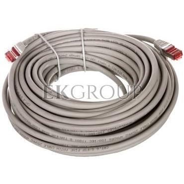 Kabel krosowy patchcord S/FTP (PiMF) kat.6 LSZH szary 15m 50892-150442