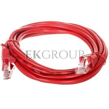 Kabel krosowy patchcord U/UTP kat.5e CCA czerwony 3m 68369-150453