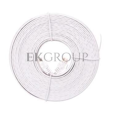 Kabel krosowy płaski patchcord U/UTP kat.5e biały 10m 93363-150528