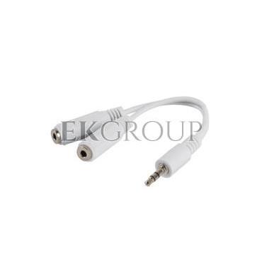Adapter minijack stereo (M) - 2x minijack stereo (F) 10cm biały AD-0024-W-148659
