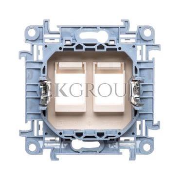 Simon 10 Pokrywa gniazd teleinformatycznych na Keystone płaska podwójna kremowa CKP2.01/41-153105