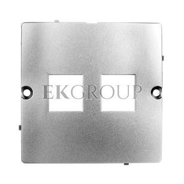 Simon Basic Pokrywa gniazd teleinformatycznych na Keystone płaska podwójna srebrny mat BMGK1P/43-153198