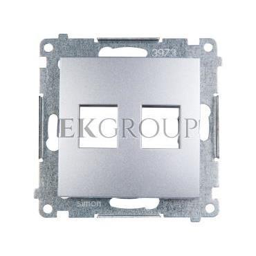 Simon 54 Pokrywa gniazda teleinformatycznego podwójnego 2xRJ Keystone płaska srebrny mat DKP2.01/43-152162