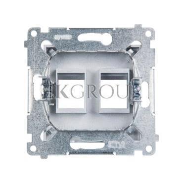 Simon 54 Pokrywa gniazda teleinformatycznego podwójnego 2xRJ Keystone płaska srebrny mat DKP2.01/43-152163