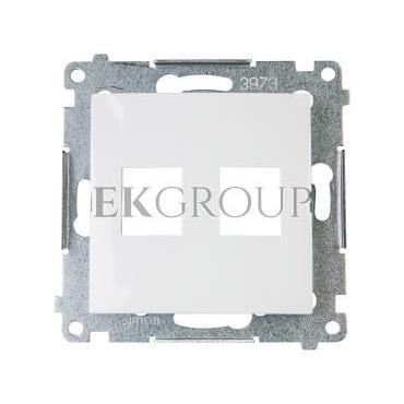 Simon 54 Pokrywa gniazda teleinformatycznego podwójnego 2xRJ Keystone płaska biała DKP2.01/11-152123