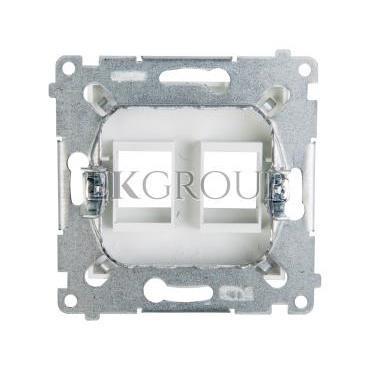 Simon 54 Pokrywa gniazda teleinformatycznego podwójnego 2xRJ Keystone płaska biała DKP2.01/11-152124