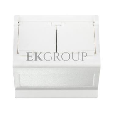 Simon Connect Płytka K45 gniazda teleinformatycznego podwójnego 2xRJ skośna z przesłoną czysta biel KB80/-152273