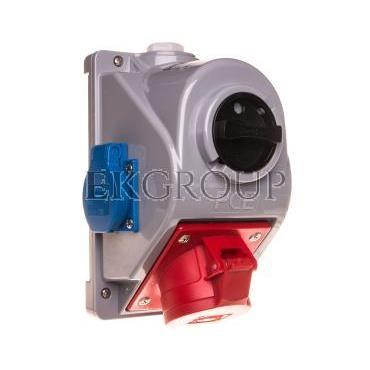 Zestaw instalacyjny z gniazdem 16A 5P 2x2P Z (0-1) czerwony Combopol 61132-6 96061552W-174950