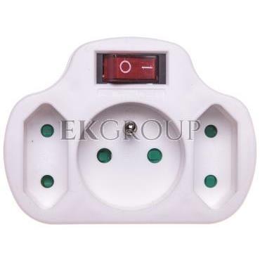 Rozgałęźnik wtyczkowy z wyłącznikiem 1-gniazdo z/u   2x Euro biały P0029-172611