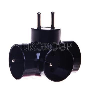 Rozgałęźnik wtyczkowy 3-gniazda z/u czarny E2010  P0030-172615