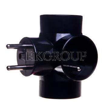 Rozgałęźnik wtyczkowy 3-gniazda z/u czarny E2010  P0030-172616