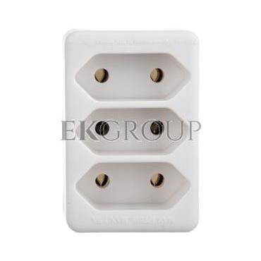 Rozgałęźnik wtyczkowy 3-gniazda b/u Euro biały DG-ZD01/3 P0013-172643