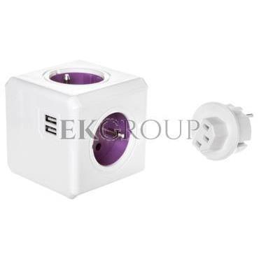 Rozgałęźnik PowerCube z 4-krotnym gniazdem E/FR i 2xUSB 5V   4 wtyczki (ReWirable USB), fioletowy 1830/FRRU4P-172633