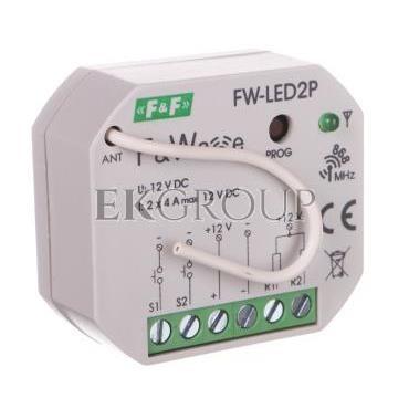 Radiowy dwukanałowy sterownik LED 12V - montaż p/t 10-16V DC FW-LED2P-168649