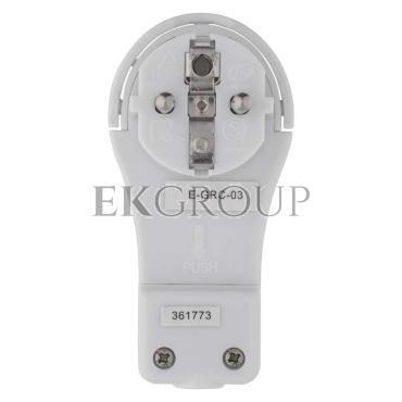 Wtyczka kątowa ultra płaska 16A 2P Z 250V z uchwytem biała P0066-174002