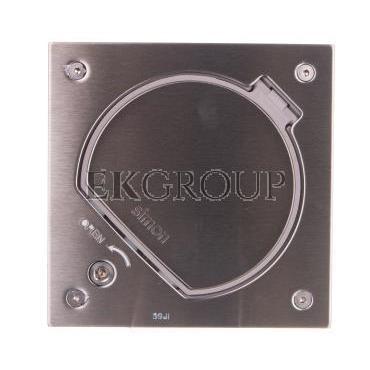 Simon Connect Wkład K45 puszki z pokrywą oraz gniazdem z/u 16A i gniazdem komputerowym RJ45 kat.5e stal nierdze-166706