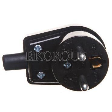 Wtyczka kątowa z uziemieniem 16A 250V czarna WB-6 3300-02-173906