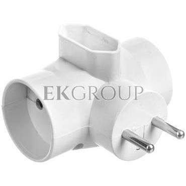 Rozgałeźnik wtyczkowy 2x2P  1xEuro z podświetleniem biały R-20/S-172657