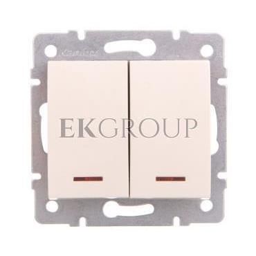 LOGI Łącznik zwierny podwójny LED śrubowy 10AX 250V kremowy 021023103 25130-171420