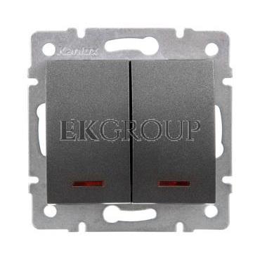 LOGI Łącznik zwierny podwójny LED śrubowy 10AX 250V grafit 021023141 25248-171423
