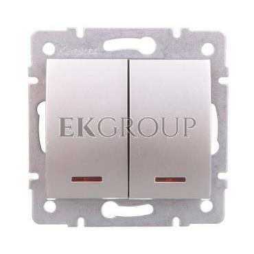 LOGI Łącznik zwierny podwójny LED śrubowy 10AX 250V srebrny 021023143 25189-171426