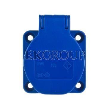 Gniazdo tablicowe 10/16A 2P Z SCHUKO 230V niebieskie IP54 105-0b-168264