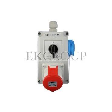 Zestaw instalacyjny z gniazdem 32A 4P 2P Z (0-1) czerwony ZI05\R341-174910