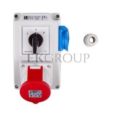 Zestaw instalacyjny z gniazdem 32A 4P 2P Z (L-0-P) czerwony ZI05\R361-174913