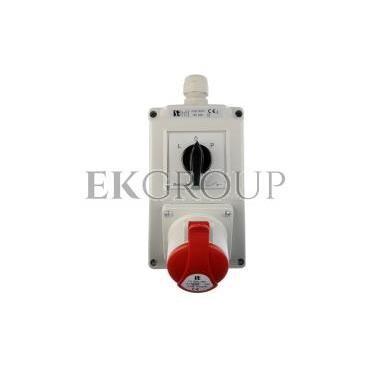Zestaw instalacyjny z gniazdem 16A 5P (L-0-P) czerwony ZI02\R221-174919