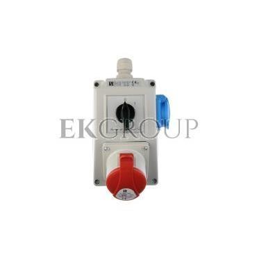 Zestaw instalacyjny z gniazdem 16A 5P 2P Z (0-1) czerwony ZI03\R211-174928