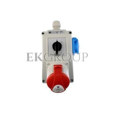 Zestaw instalacyjny z gniazdem 32A 5P 2P Z (0-1) czerwony ZI05\R441-174931