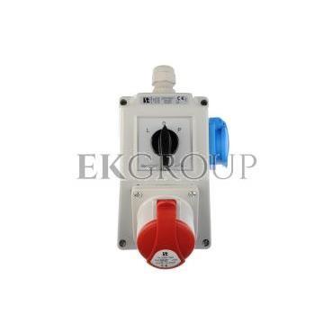 Zestaw instalacyjny z gniazdem 16A 5P 2P Z (L-0-P) czerwony ZI03\R221-174934