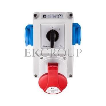 Zestaw instalacyjny z gniazdem 32A 5P 2x2P Z (0-1) czerwony ZI05\R442-174937