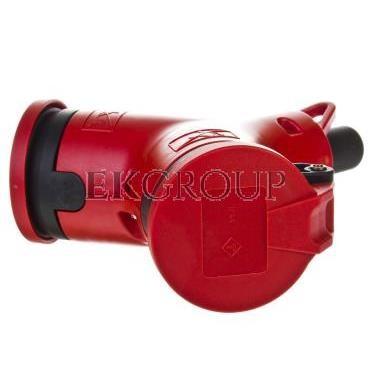 Rozgałęźnik podwójny 2P Z czerwony PC-ABS IP44 24212-r-172556