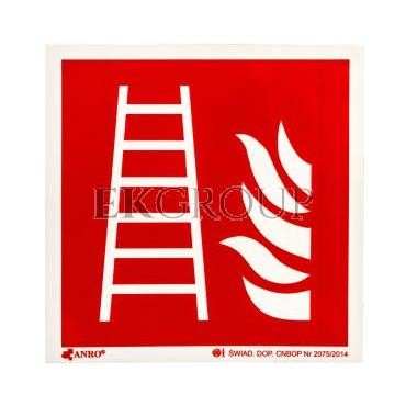 Tabliczka ostrzegawcza /Drabina z płomieniem 150x150/ IF/003/F/FS-182862