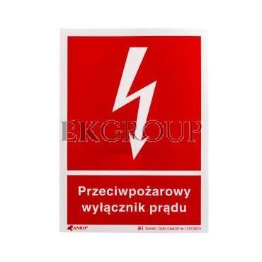 Tabliczka ostrzegawcza /Przeciwpożarowy wyłącznik prądu 150x205/ 31P/F1/FS-182871