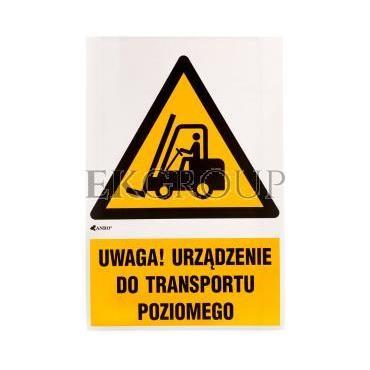 Tabliczka ostrzegawcza /Ostrzeżenie przed urządzeniami do transportu poziomego z podpisem/ IW/014/1/C1/F-182894