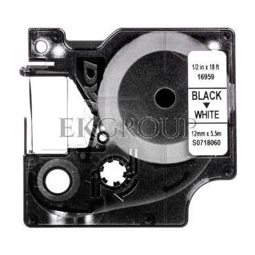 Taśma poliestrowa trwała do drukarek D1 12mm x 5,5m czarny/biały S0718060-182956