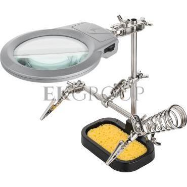 Zestaw trzecia ręka do lutowania 2 uchwyty   lupa z lampą LED 51226-186656