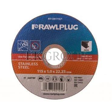 Ściernica korundowa do cięcia i szlifowania stali nierdzewnej 115x22,23mm RT-CDI-115/1-188214