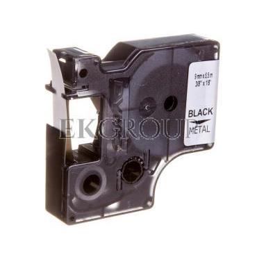 Taśma poliestrowa do drukarek trwała 9mm x 5,5m czarna na metalicznym S0718170 18485-185420