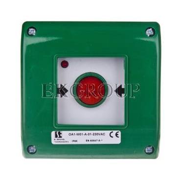 Przycisk awaryjny natynkowy 0Z 1R zielony OA1-W01-A-01-230VAC-199610