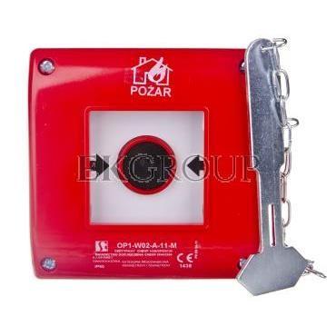 Przycisk ppoż. podtynkowy 1Z 1R czerwony z młotkiem OP1-W02-A-11-M-199612